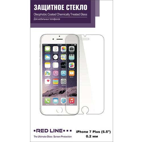 Защитное стекло Red Line для iPhone 7 Plus Tempered Glass 0.2 мм глянцевоеСтекла/Пленки на смартфоны<br>Защитное стекло RED LINE для iPhone 7 Plus tempered glass<br><br>Цвет товара: Прозрачный<br>Материал: Стекло