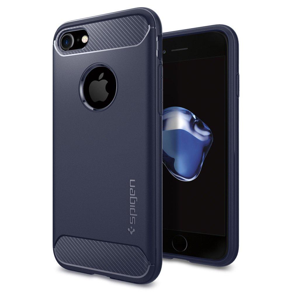 Чехол Spigen Rugged Armor для iPhone 7 (Айфон 7) тёмно-синий  (SGP-042CS21188)Чехлы для iPhone 7<br><br><br>Цвет товара: Синий<br>Материал: Термопластичный полиуретан