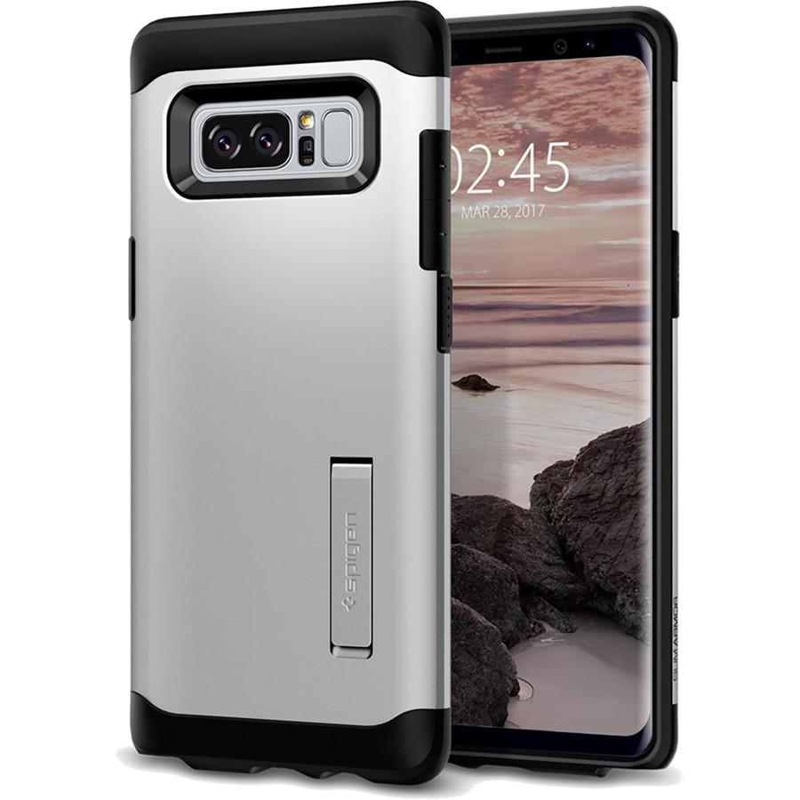 Чехол Spigen Slim Armor для Samsung Galaxy Note 8 серебристый (587CS21838)Чехлы для Samsung Galaxy Note<br>Spigen Slim Armor — это два прочнейших слоя защиты от повреждений для вашего смартфона.<br><br>Цвет товара: Серебристый<br>Материал: Термопластичный полиуретан, поликарбонат