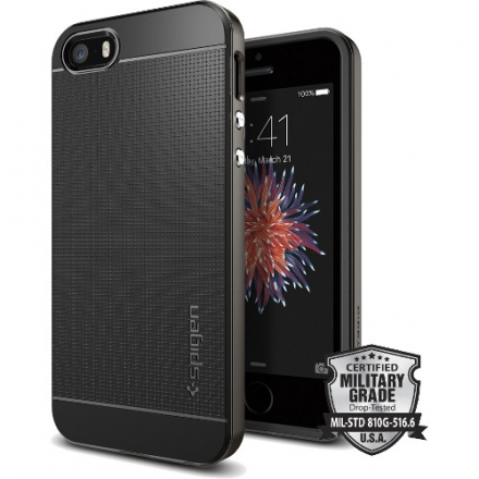 Чехол Spigen Neo Hybrid для iPhone 5/5S/SE тёмный-металлик Gunmetal (SGP-041CS20184)Чехлы для iPhone 5/5S/SE<br>Чехол Spigen Neo Hybrid для iPhone SE тёмный металлик (SGP-041CS20184)<br><br>Цвет товара: Серый<br>Материал: Металл, пластик, резина