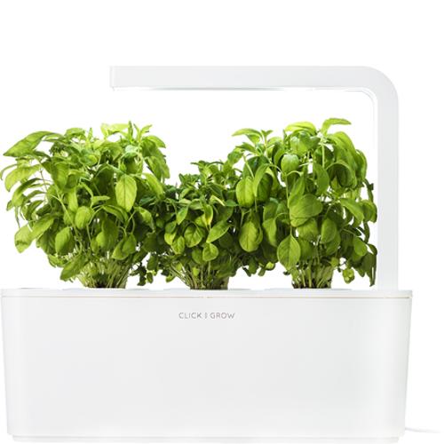 Умный сад Click and Grow Базилик (белая крышка)Умные сады и фермы<br>Умный сад от Click and Grow — это смарт-девайс, впитавший в себя новейшие разработки в сфере выращивания растений.<br><br>Цвет товара: Белый<br>Материал: Пластик