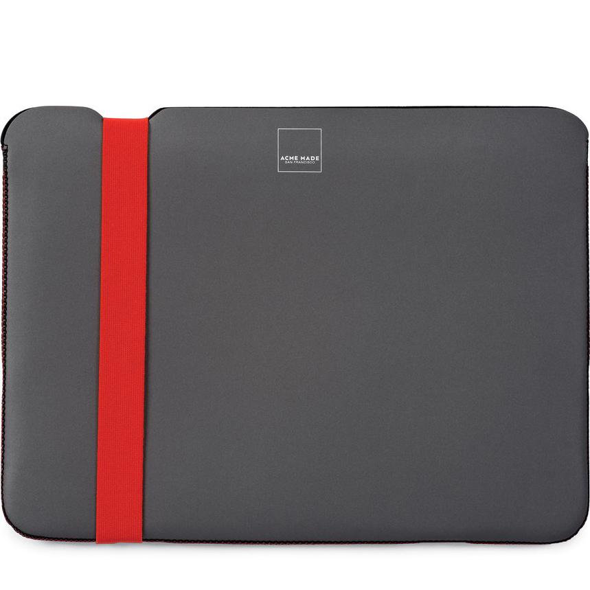 Чехол Acme Made Skinny Sleeve Large StretchShell Neoprene для MacBook Pro 15 Touch Bar (USB-C) серый / оранжевыйMacBook Pro 15<br>Acme Made Skinny Sleeve защитит ваш любимый MacBook со всех сторон!<br><br>Цвет: Серый<br>Материал: Неопрен, текстиль