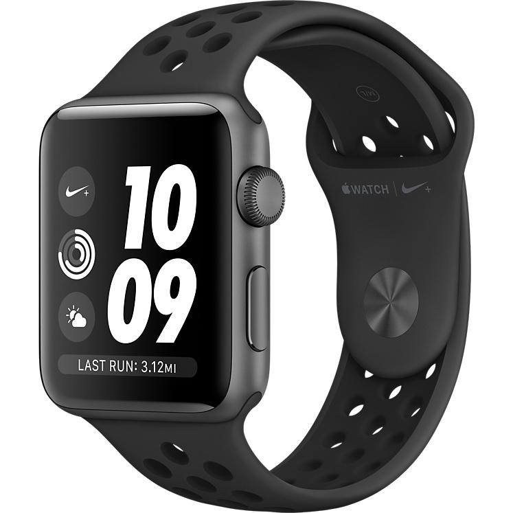 Умные часы Apple Watch Series 3 42мм, алюминий «серый космос», спортивный ремешок Nike цвета «антрацитовый/чёрный»Умные часы<br>Apple Watch S3 42mm Space Gray Aluminum Case, Black/Black Nike Sport Band<br><br>Цвет товара: Чёрный<br>Материал: Алюминий, фторэластомер, задняя панель из композитного материала, стекло Ion-X повышенной прочности<br>Цвета корпуса: серый<br>Модификация: 42 мм