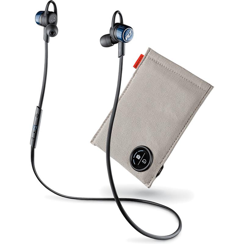 Наушники Plantronics BackBeat GO 3 чёрный/синий кобальт с зарядным чехломВнутриканальные наушники<br>Насладитесь звучанием. Забудьте о проводах.<br><br>Цвет товара: Чёрный<br>Материал: Пластик, силикон