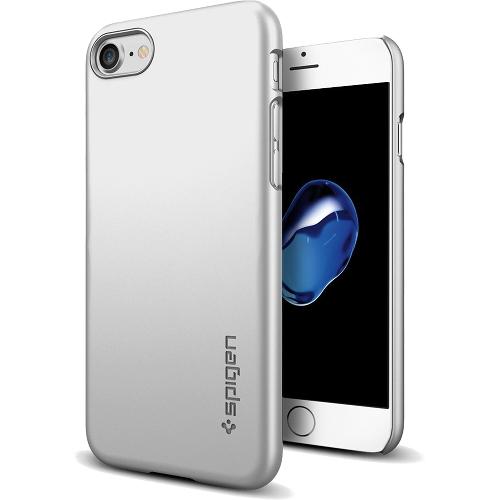 Чехол Spigen Thin Fit для iPhone 7/ iPhone 8 серебристый (SGP-042CS20733)Чехлы для iPhone 7<br>Ультратонкий и невероятно лёгкий, словно пёрышко, чехол Spigen Thin Fit практически не прибавит объёма и веса мощному смартфону.<br><br>Цвет товара: Серебристый<br>Материал: Поликарбонат