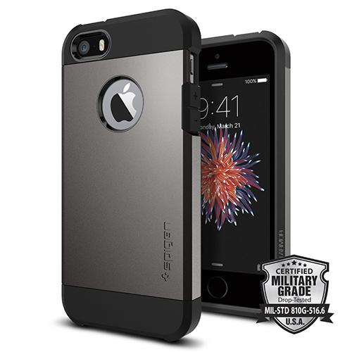 Чехол Spigen Tough Armor для iPhone 5/5S/SE тёмный металлик Gunmetal (SGP-041CS20188)Чехлы для iPhone 5/5S/SE<br>Чехол Spigen Tough Armor для iPhone SE тёмный металлик (SGP-041CS20188)<br><br>Цвет товара: Серый<br>Материал: Поликарбонат, полиуретан