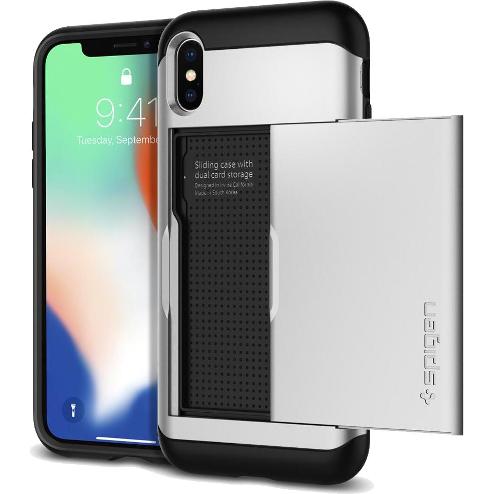 Чехол Spigen Case Slim Armor CS для iPhone X серебристый (057CS22158)Чехлы для iPhone X<br>Spigen предлагает вам отличный аксессуар для вашего iPhone X — защитный чехол и бумажник Slim Armor CS.<br><br>Цвет товара: Серебристый<br>Материал: Термопластичный полиуретан, поликарбонат