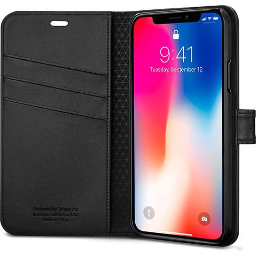 Чехол Spigen Wallet S для iPhone X чёрный (057CS22176)Чехлы для iPhone X<br>Spigen является лидером в производстве невероятно удобных и практичных чехлов для многих моделей современных смартфонов.<br><br>Цвет товара: Чёрный<br>Материал: Поликарбонат, полиуретановая кожа