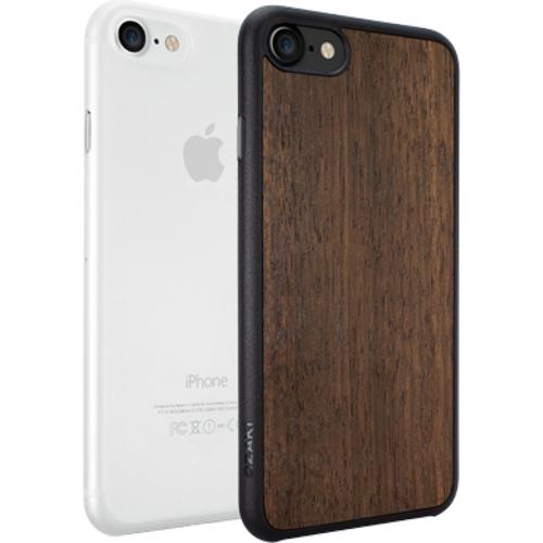 Набор чехлов Ozaki O!coat Jelly+wood 2 in 1 для iPhone 7 (Айфон 7) тёмное дерево+прозрачный