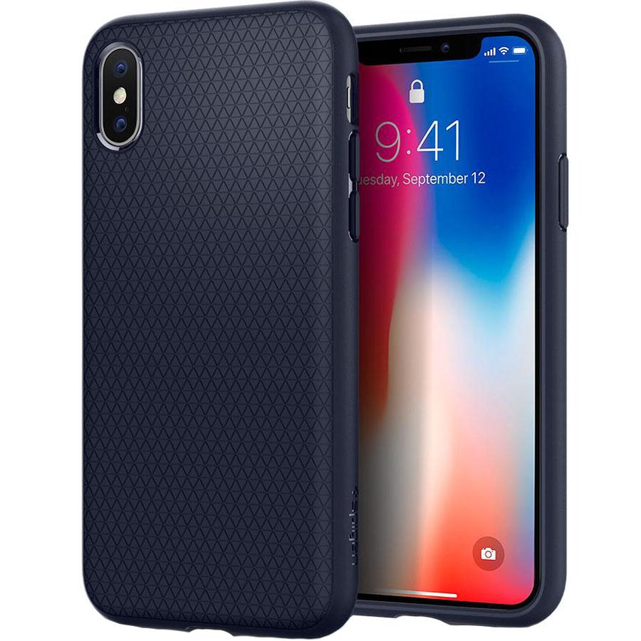 Чехол Spigen Case Liquid Air для iPhone X тёмно-синий (057CS22124)Чехлы для iPhone X<br>Чехол Spigen Case Liquid Air, изготовленный из гибкого материала, с новейшей текстурной поверхностью в виде треугольников.<br><br>Цвет товара: Синий<br>Материал: Термопластичный полиуретан