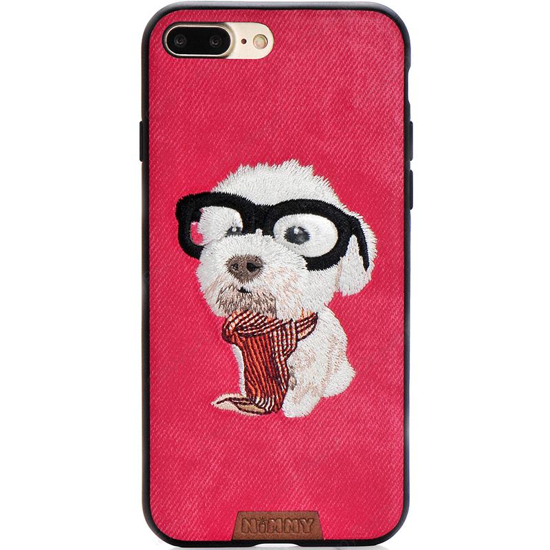 Чехол Nimmy Pet Denim для iPhone 7 Plus / 8 Plus (Щенок с шарфом) красныйЧехлы для iPhone 7 Plus<br>Чехол для iPhone 7 Plus Nimmy Pet стиль 2<br><br>Цвет: Красный<br>Материал: Пластик, силикон, текстиль