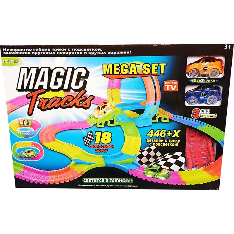 Светящийся конструктор Magic Tracks Mega Set (446 деталей)3D пазлы и конструкторы<br>Играть с Magic Tracks вам и вашим детям будет невероятно весело!<br><br>Цвет: Разноцветный<br>Материал: Пластик<br>Модификация: 446