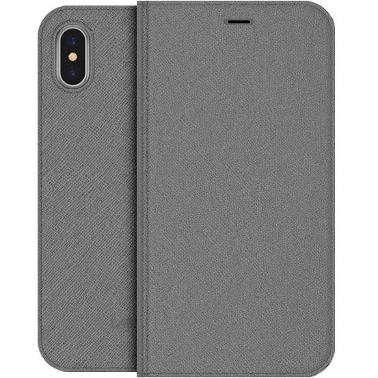Чехол LAB.C Smart Wallet 2 in 1 для iPhone X серыйЧехлы для iPhone X<br><br><br>Цвет товара: Серый<br>Материал: Искусственная кожа, полиуретан, поликарбонат