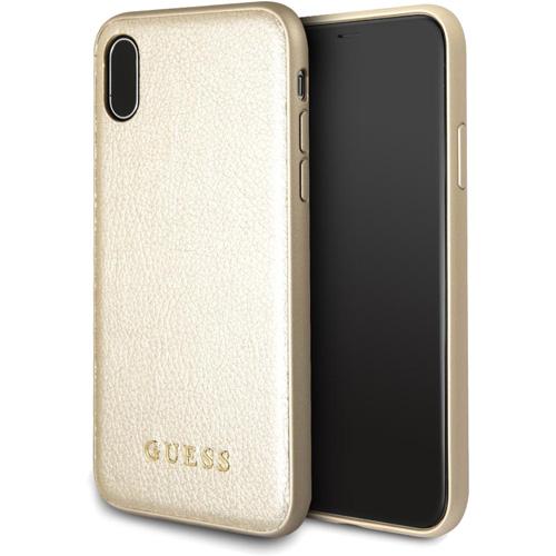 Чехол Guess Iridescent Hard PU для IPhone X золотойЧехлы для iPhone X<br>Guess Iridescent Hard PU — привлекательный и стильный, вместе с тем ударопрочный чехол для вашего iPhone X от всемирно известного дома моды Guess.<br><br>Цвет товара: Золотой<br>Материал: Экокожа, термопластичный полиуретан