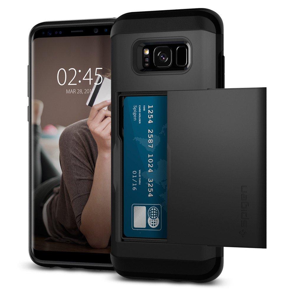Чехол Spigen Slim Armor CS для Samsung Galaxy S8 Plus чёрный (571CS21672)Чехлы для Samsung Galaxy S8/S8 Plus<br>Чехол Spigen для Galaxy S8 Plus Slim Armor CS — это 100% защита от повреждений и карт-холдер, чтобы вы могли отправиться на прогулку налегке.<br><br>Цвет товара: Чёрный<br>Материал: Термопластичный полиуретан, поликарбонат