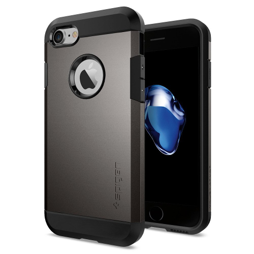 Чехол Spigen Tough Armor для iPhone 7, iPhone 8 тёмный металлик (SGP-042CS20489)Чехлы для iPhone 7<br>Обеспокоены безопасностью вашего iPhone 7? С бестселлером от Spigen — чехлом Tough Armor — вам больше никогда не придётся об этом волноваться!<br><br>Цвет товара: Серый<br>Материал: Поликарбонат, полиуретан