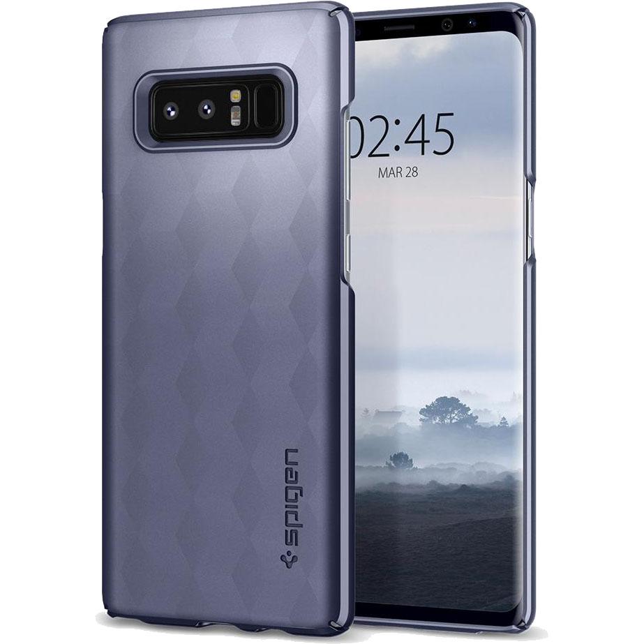 Чехол Spigen Thin Fit для Samsung Galaxy Note 8 серый Orchid Gray (587CS22052)Чехлы для Samsung Galaxy Note<br>Это износостойкий материал, прочный и лёгкий, не боится перепадов температур и не выгорает на солнце.<br><br>Цвет товара: Серый<br>Материал: Поликарбонат