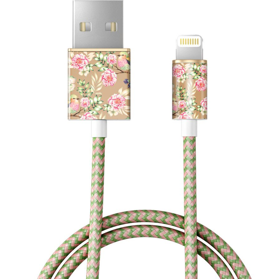 Кабель Ideal of Sweden Fashion Cable (1 метр) Champagne BirdsКабели Lightning<br>Прочный и гибкий кабель, который обладает по-настоящему ярким дизайном!<br><br>Цвет товара: Золотой<br>Материал: Пластик, нейлон