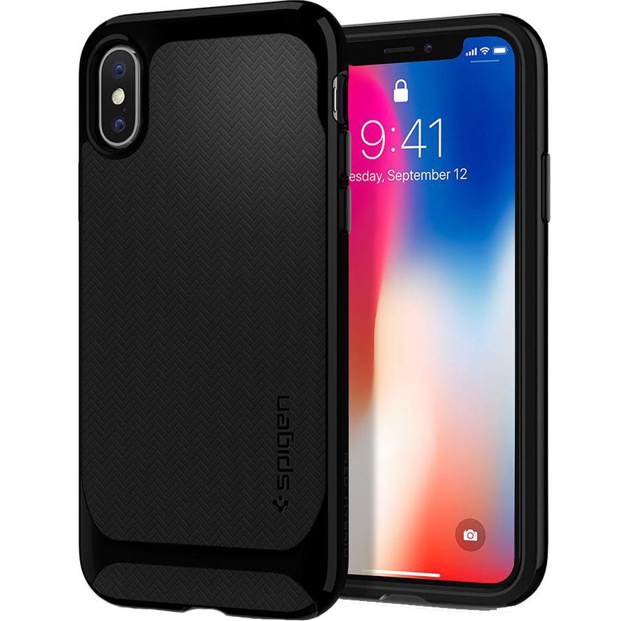 Чехол Spigen Case Neo Hybrid для iPhone X ультра-чёрный (057CS22166)Чехлы для iPhone X<br>Spigen Neo Hybrid — стильный и прочный чехол для мощного смартфона Apple iPhone X с текстурой «ёлочка».<br><br>Цвет товара: Чёрный<br>Материал: Термопластичный полиуретан, поликарбонат