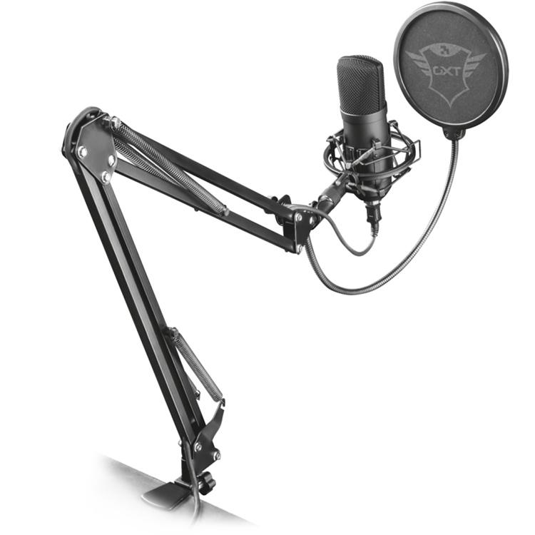 Микрофон Trust GXT 252+ Emita PlusСтудийные микрофоны<br>Звук высокого качества без помех и посторонних шумов!<br><br>Цвет: Чёрный<br>Материал: Пластик, металл