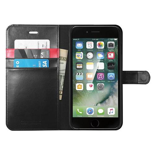Чехол Spigen Wallet S для iPhone 7 Plus (Айфон 7 Плюс) чёрный (SGP-043CS20543)Чехлы для iPhone 7/7 Plus<br><br><br>Цвет товара: Чёрный<br>Материал: Поликарбонат, полиуретановая кожа