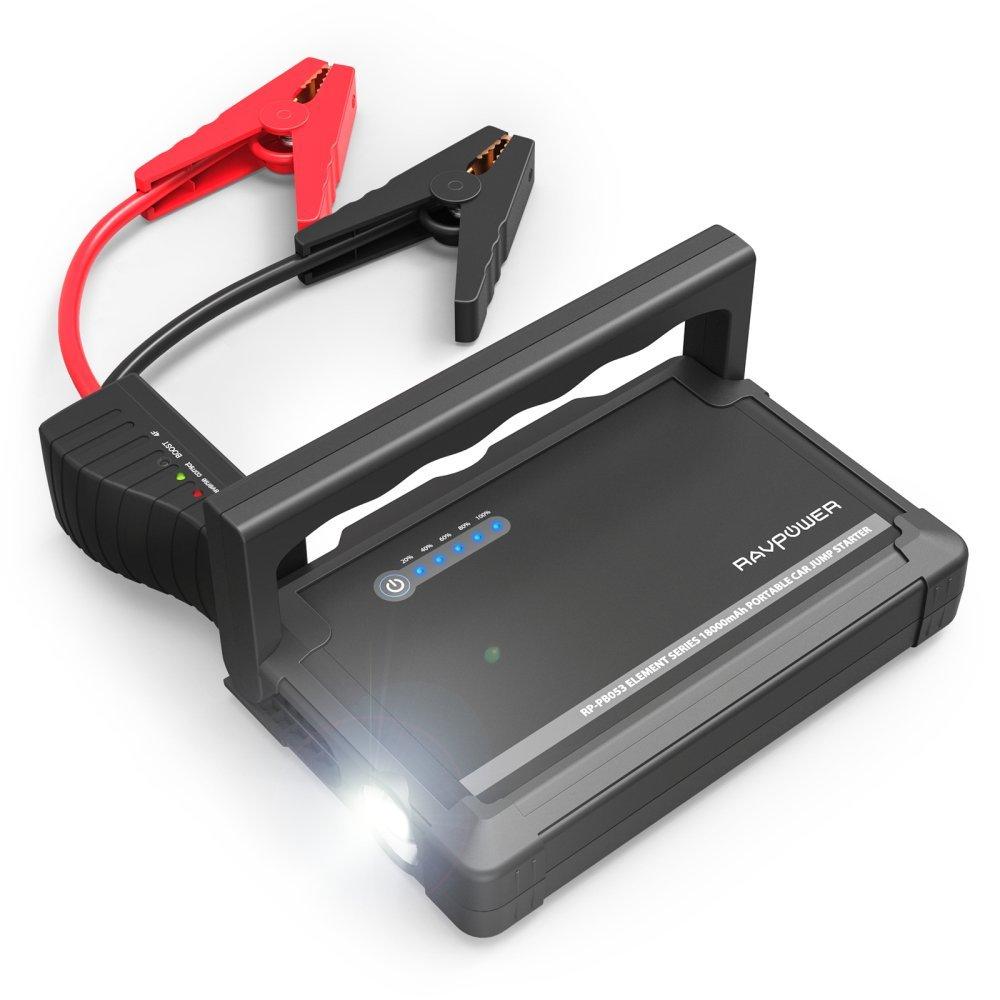 Пуско-зарядное устройство RAVPower с аккумулятором 18000 мАч (RP-PB053)Автозарядки<br><br><br>Цвет: Чёрный<br>Материал: Металл, пластик