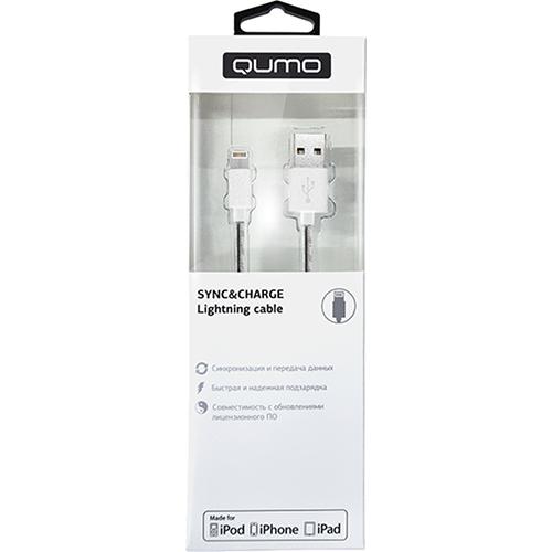 Кабель Qumo Lightning-USB (1 метр) MFI со стальной пружиной белыйКабели Lightning<br>Стальная пружина предотвращает чрезмерное заламывание или загибание кабеля, тем самым уберегая его от повреждений именно у коннекторов.<br><br>Цвет товара: Белый<br>Материал: Металл, пластик