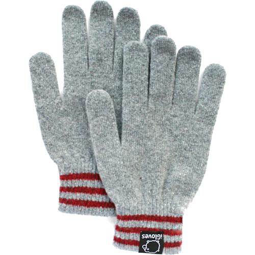 Перчатки шерстяные iGloves (v2) для iPhone/iPod/iPad/etc серые с красными полосками (Размер M) от iCases