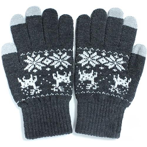 Перчатки iGloves (p4) для iPhone/iPod/iPad/etc серые с оленями (Размер M) от iCases