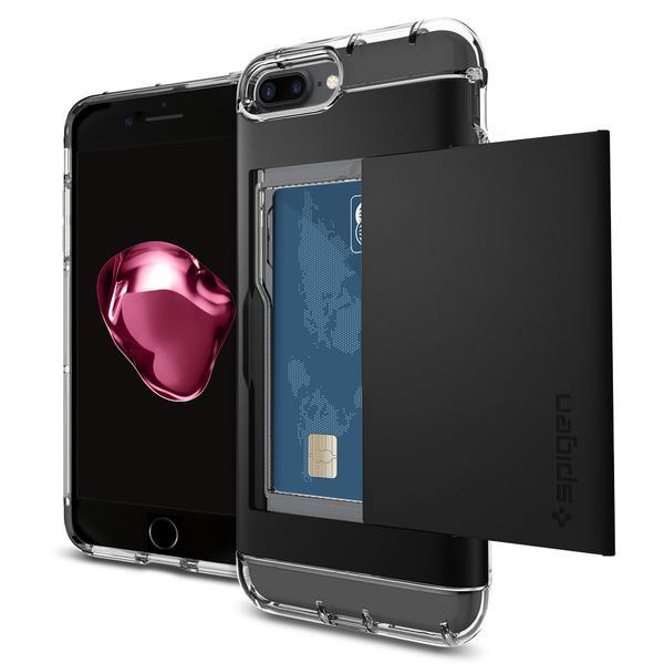 Чехол Spigen Crystal Wallet для iPhone 7 Plus (Айфон 7 Плюс) чёрный (SGP-043CS20986)Чехлы для iPhone 7 Plus<br>Crystal Wallet надёжно защитит смартфон от различных повреждений.<br><br>Цвет товара: Чёрный<br>Материал: Поликарбонат, термопластичный полиуретан (ТПУ)