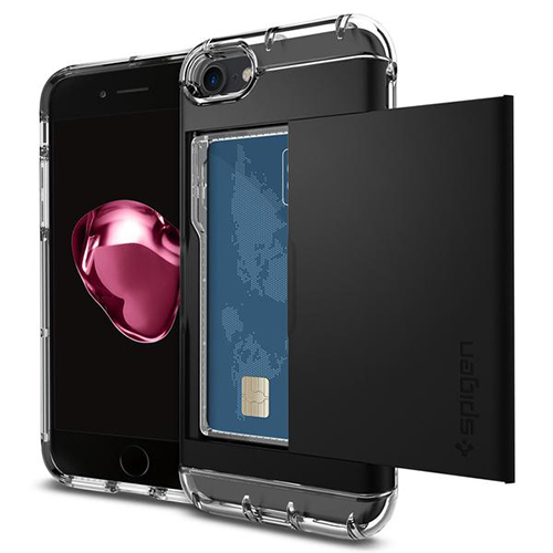 Чехол Spigen Crystal Wallet для iPhone 7 (Айфон 7) чёрный (SGP-042CS20981)