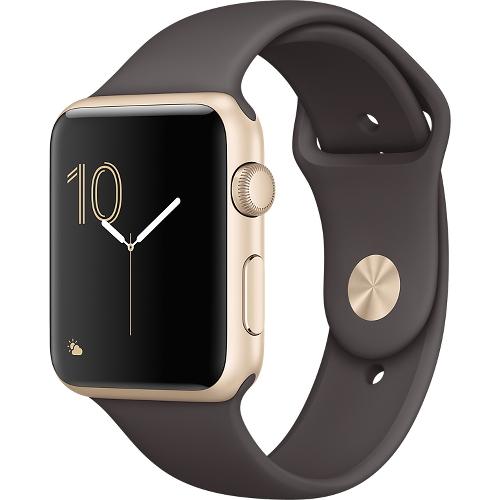 Часы Apple Watch Series 2 42 мм, золотистый алюминий, спортивный ремешок «тёмное какао»Умные часы<br>Часы Apple Watch Series 2 42 мм, золотистый алюминий, спортивный ремешок «тёмное какао»<br><br>Цвет товара: Коричневый<br>Материал: Золотистый алюминий серии 7000 анодированный<br>Модификация: 42 мм