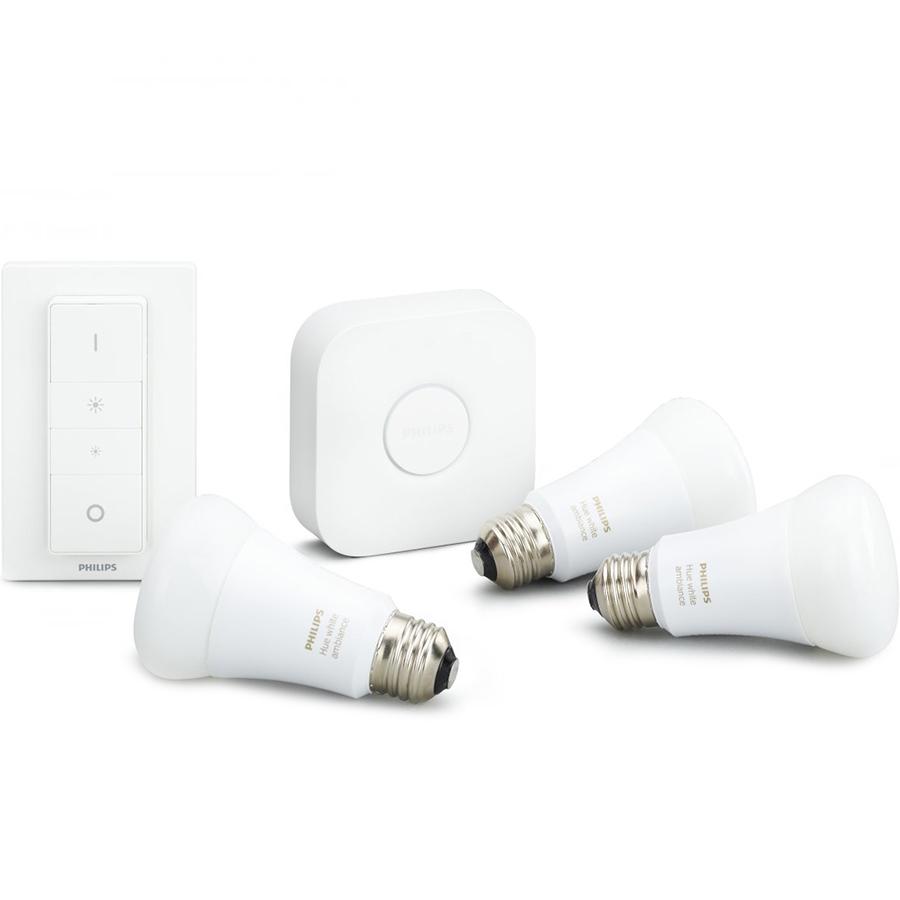 Комплект умных ламп Philips Hue White Ambiance E27 Starter Kit с выключателем и маршрутизаторомУмные лампы<br>Благодаря комплекту умных ламп Philips Hue вы сможете создать в своём доме настоящую симфонию света!<br><br>Цвет: Белый<br>Материал: Пластик, металл, керамика
