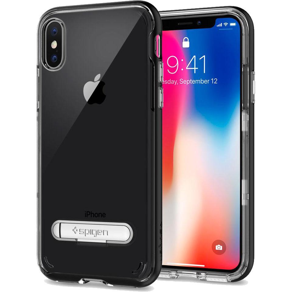 Чехол Spigen Crystal Hybrid для iPhone X чёрный (057CS22147)Чехлы для iPhone X<br>Сочетание прочной панели из поликарбоната и гибкого бампера из термопластичного полиуретана убережёт ваш смартфон не только от пыли и цар...<br><br>Цвет товара: Чёрный<br>Материал: Термопластичный полиуретан, поликарбонат