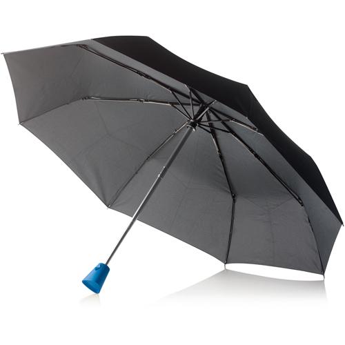 Складной зонт-автомат XD Design Brolly (P850.115) с синей ручкойТуризм и отдых на природе<br>XD Design Brolly — это легкий, компактный, но в то же время прочный складной зонт от зарекомендовавшей себя компании XD Design.<br><br>Цвет товара: Синий<br>Материал: rPET (повторно переработанный материал), reSound® (эко-пластик), алюминий