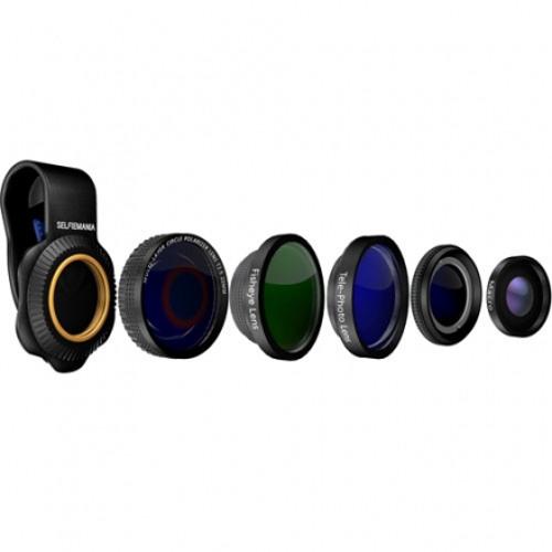 Универсальный комплект линз Mixberry SELFIEMANIA 5 Lens Set (Macro, Wide, Fisheye, Polarized, Zoom 2x) для смартфонов и планшетовОбъективы<br>Универсальный комплект линз Mixberry SELFIEMANIA 5 Lens Set состоит из 5 линз для смартфонов и планшетов, которые обеспечивают практически все потребнос...<br><br>Цвет товара: Чёрный<br>Материал: Алюминий, оптическое стекло