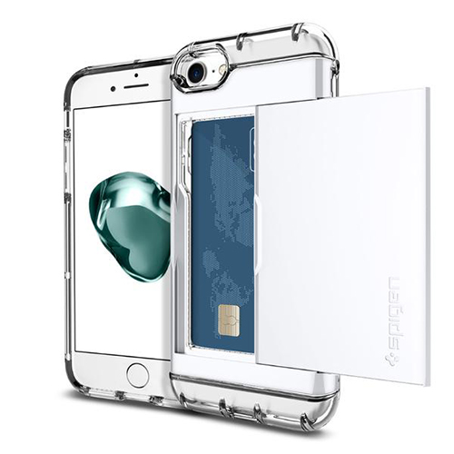 Чехол Spigen Crystal Wallet для iPhone 7 (Айфон 7) ультрабелый (SGP-042CS21049)Чехлы для iPhone 7/7 Plus<br><br><br>Цвет товара: Белый<br>Материал: Поликарбонат, термопластичный полиуретан (ТПУ)