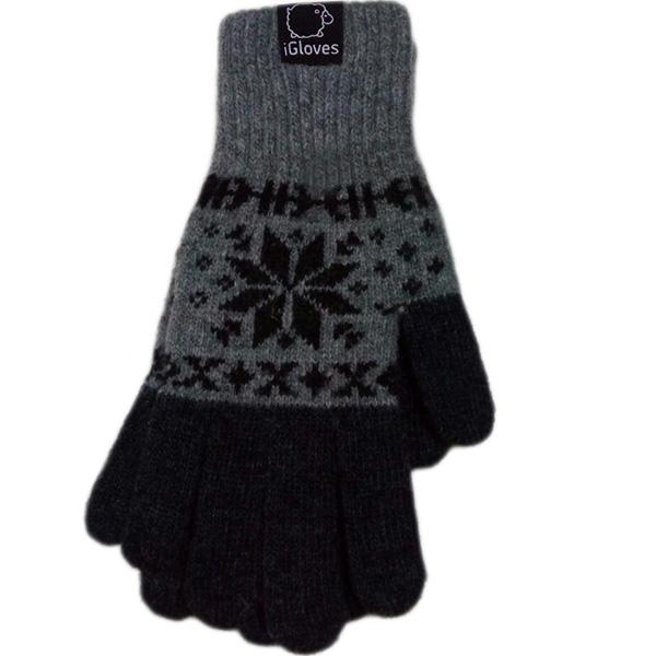 Перчатки шерстяные iGloves для iPhone/iPod/iPad/etc со снежинками серые (Размер M)Перчатки для экрана<br>Перчатки iGloves  — отличный подарок на Новый Год!<br><br>Цвет товара: Серый<br>Материал: 50% - шерсть, 50% - акрил<br>Модификация: M