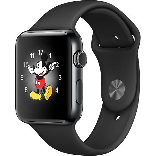 Часы Apple Watch Series 2 42 мм, нержавеющая сталь «чёрный космос», спортивный ремешок чёрныйУмные часы<br>Часы Apple Watch Series 2 42 мм, нержавеющая сталь «чёрный космос», спортивный ремешок чёрный<br><br>Цвет товара: Чёрный<br>Материал: Нержавеющая сталь 316L «Чёрный космос»<br>Модификация: 42 мм