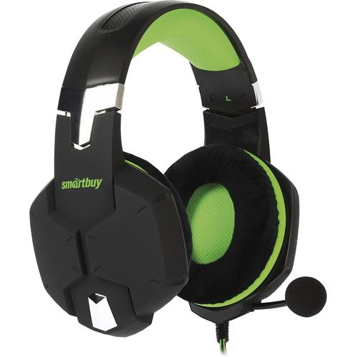 Игровая гарнитура Smartbuy Rush Viper чёрный/зелёный (SBHG-2100)Полноразмерные наушники<br>Игровая гарнитура Smartbuy Rush Viper чёрный/зелёный (SBHG-2100)<br><br>Цвет товара: Зелёный<br>Материал: Пластик, металл, велюр