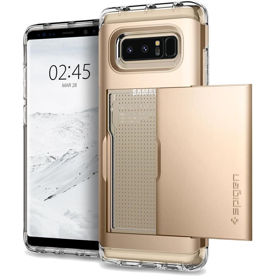 Чехол Spigen Crystal Wallet для Samsung Galaxy Note 8 золотистый шампань (587CS21847)Чехлы для Samsung Galaxy Note<br>Spigen Crystal Wallet — это два прочнейших слоя защиты от повреждений для вашего смартфона, плюс отделение для ваших кредитных карт или визиток.<br><br>Цвет товара: Золотой<br>Материал: Термопластичный полиуретан, поликарбонат