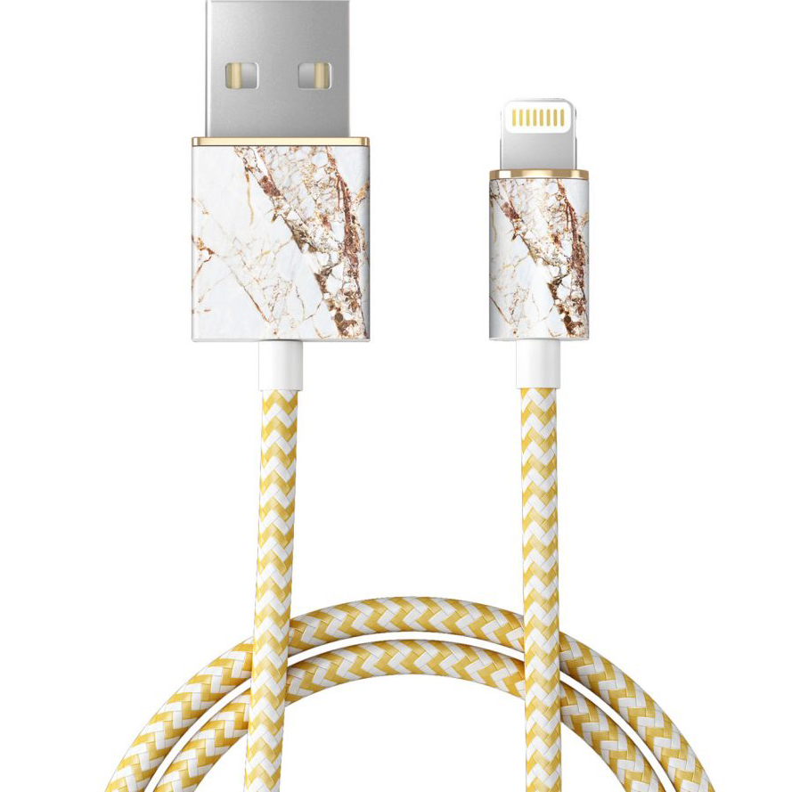 Кабель Ideal of Sweden Fashion Cable (1 метр) Carrara GoldКабели Lightning<br>Прочный и гибкий кабель, который обладает по-настоящему ярким дизайном!<br><br>Цвет товара: Золотой<br>Материал: Пластик, нейлон
