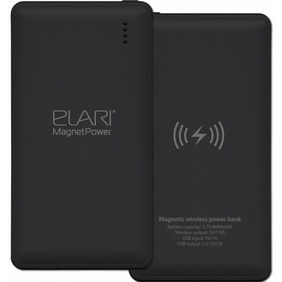 Внешний аккумулятор Elari MagnetPower 6000 мАч чёрныйДополнительные и внешние аккумуляторы<br>Благодаря Elari MagnetPower вы сможете заряжать сразу 3 устройства!<br><br>Цвет товара: Чёрный<br>Материал: Пластик