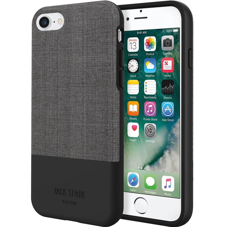 Чехол Jack Spade Color-Block Case для iPhone 7 чёрный/серыйЧехлы для iPhone 7<br>Jack Spade Color-Block Case подчеркнёт ваш безупречный вкус и будет притягивать взгляды окружающих.<br><br>Цвет товара: Чёрный<br>Материал: Поликарбонат, текстиль