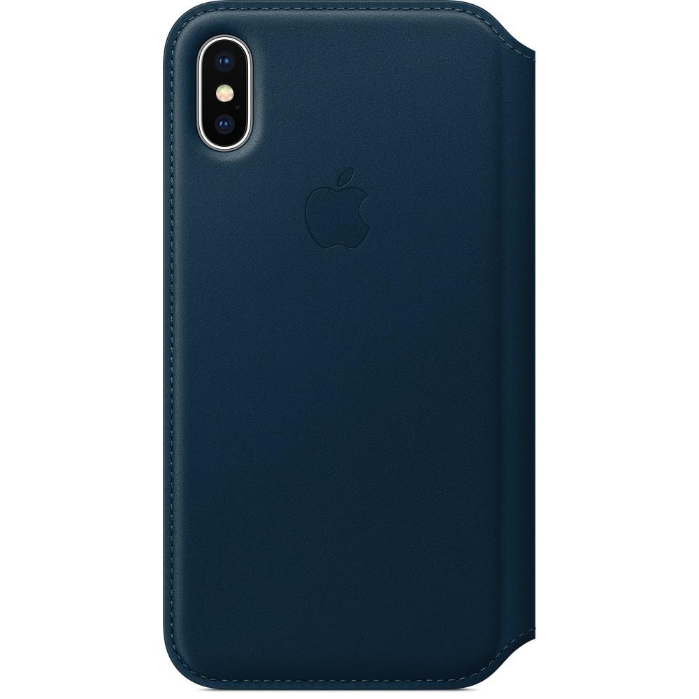 Чехол Apple Leather Folio для iPhone X синий Cosmos blueЧехлы для iPhone X<br>Apple Leather Folio — оригинальный и стильный чехол, в котором собрано всё необходимое для каждого!<br><br>Цвет товара: Синий<br>Материал: Натуральная кожа, пластик, текстиль