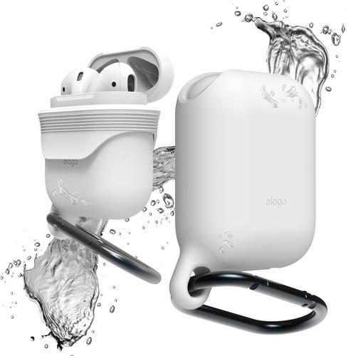 Чехол Elago Waterproof Hang Case для AirPods белыйКабели и аксессуары для наушников<br>Благодаря чехлу Elago Waterproof Hang Case вы сможете брать AirPods с собой всегда и везде, и не беспокоиться о их сохранности.<br><br>Цвет: Белый<br>Материал: Силикон; карабин: металл
