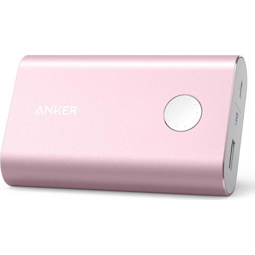 Портативный аккумулятор Anker PowerCore+ 10050 мАч (A1310H51) розовыйВнешние аккумуляторы<br>Дополнительный аккумулятор Anker PowerCore+ 10050 мАч — это мощный источник питания в самых непредвиденных ситуациях.<br><br>Цвет товара: Розовый<br>Материал: Алюминий