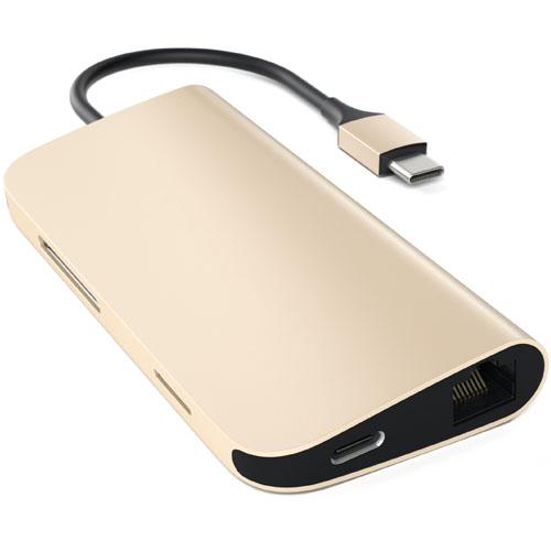 Переходник Satechi Aluminum Multi-Port Adapter 4K золотой (ST-TCMAG)Хабы - разветвители USB<br>Используйте 4K HDMI порт Multi-Port адаптера для вывода изображения с компьютера на 4К монитор.<br><br>Цвет товара: Золотой<br>Материал: Металл