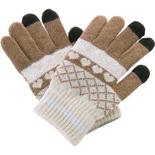 Перчатки шерстяные Beewin Smart Gloves для iPhone/iPod/iPad/etc коричневые сердца (размер L) от iCases