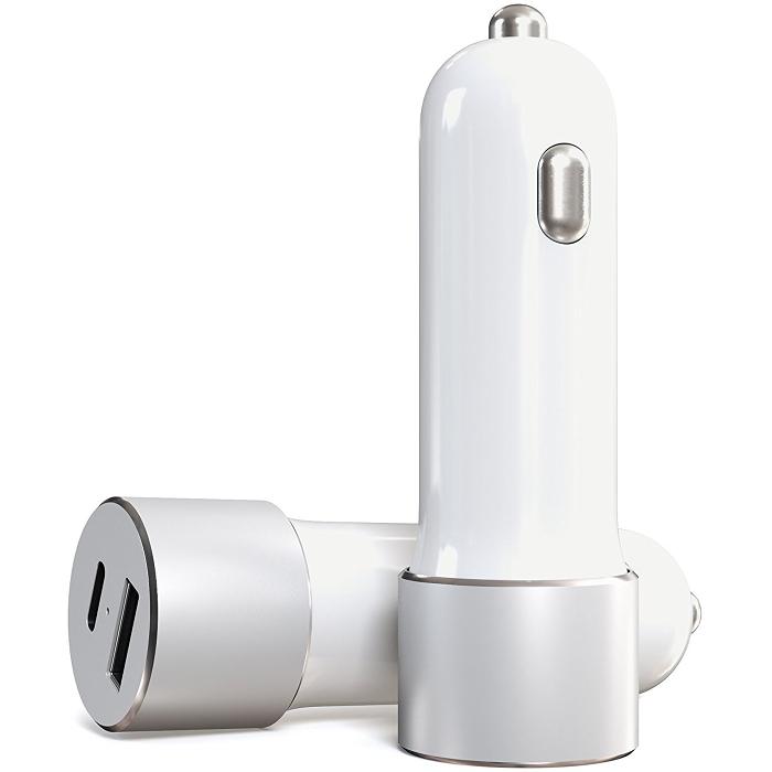 Купить со скидкой Автомобильное зарядное устройство Satechi USB-C Car Charger для ноутбуков и планшетов белая (ST-TCUC